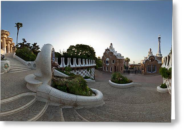 Park Guell, Barcelona, Catalonia, Spain Greeting Card by Panoramic Images