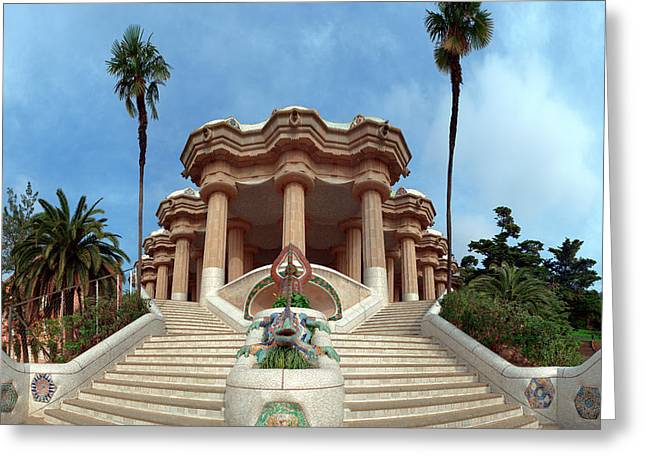 Park Guell By Architect Antoni Gaudi Greeting Card by Panoramic Images