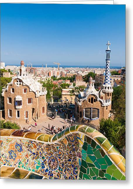 Park Guell By Gaudi In Barcelona Spain Europe Greeting Card