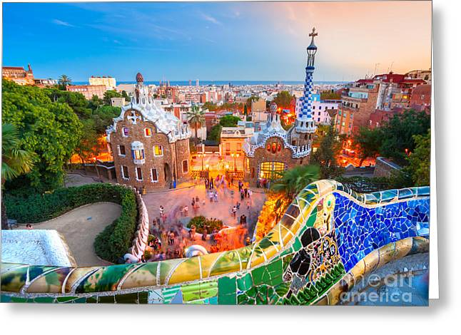 Park Guell In Barcelona - Spain Greeting Card by Luciano Mortula
