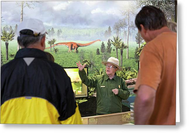 Park Ranger At A Dinosaur Exhibit Greeting Card by Jim West