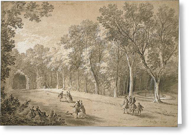 Park Scene Jean-baptiste Oudry, French Greeting Card