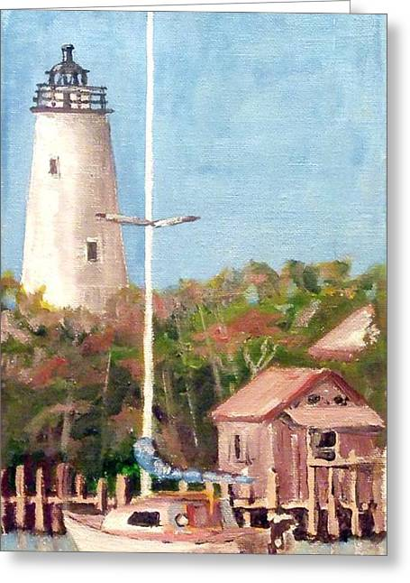 Parked By Ocracoke Greeting Card by Jim Phillips