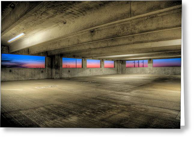 Parking Deck Sunset Greeting Card