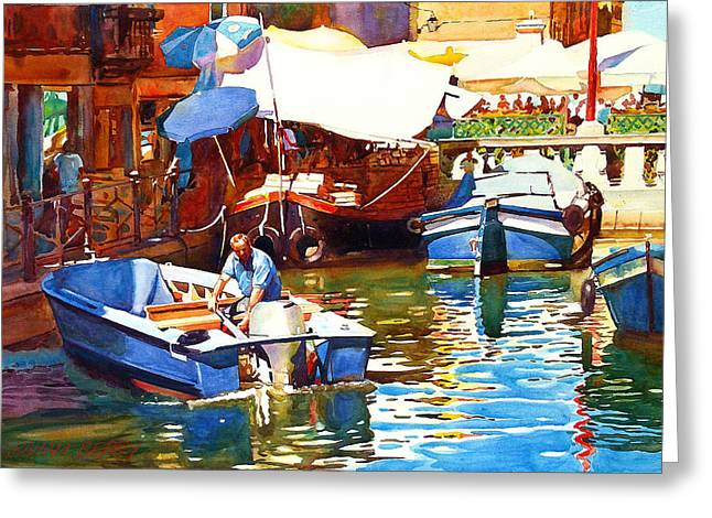 Parking In Venice Greeting Card by Graham Berry
