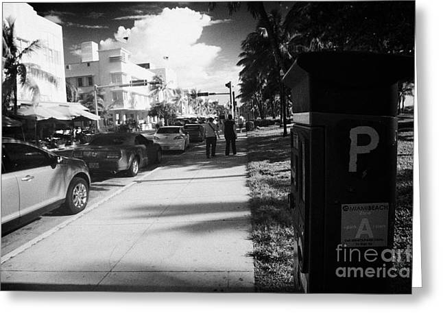 Parking Ticket Machine Ocean Drive Early Morning Art Deco District Miami South Beach Florida Usa Greeting Card