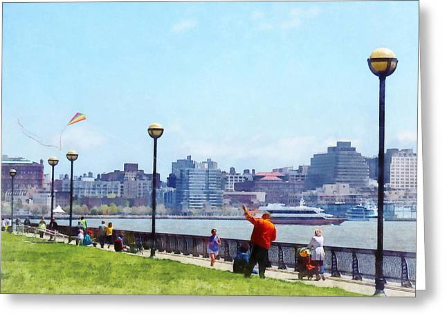 Parks - Flying A Kite At Pier A Park Hoboken Nj Greeting Card