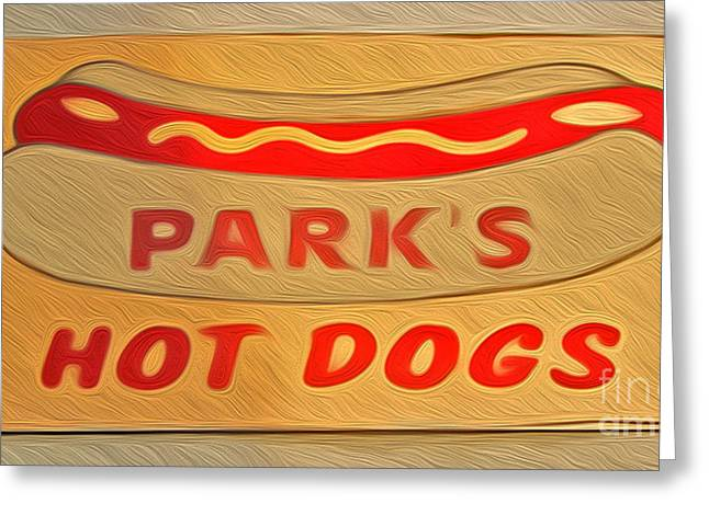 Park's Hot Dogs Greeting Card by Gregory Dyer
