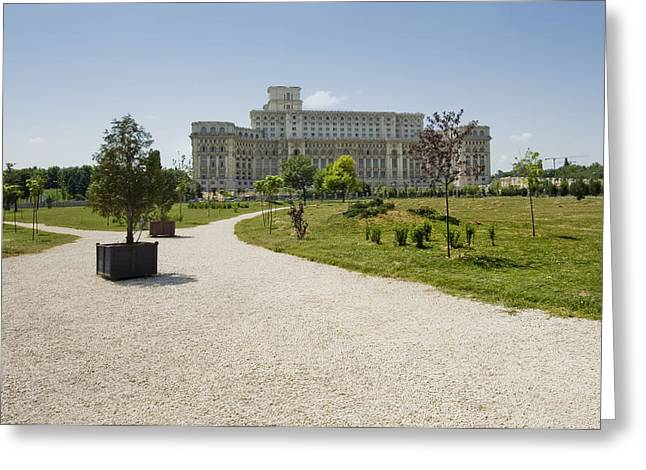Parliament At Summer Bucharest Greeting Card by Ioan Panaite