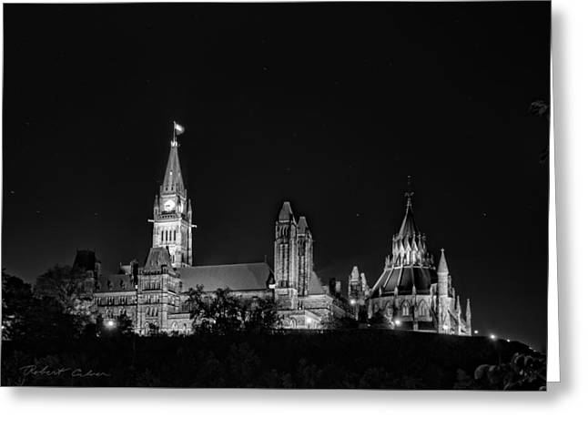 Greeting Card featuring the photograph Parliament From The Park - Bw by Robert Culver