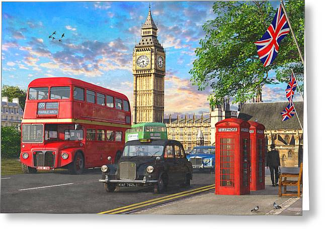 Parliament Square Greeting Card by Dominic Davison
