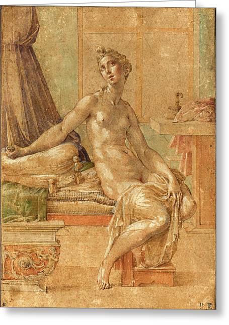 Parmigianino Italian, 1503 - 1540, Lucretia Greeting Card by Quint Lox