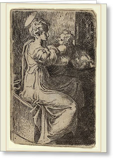 Parmigianino Italian, 1503-1540, Virgin And Child Greeting Card by Litz Collection