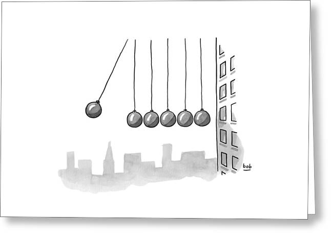 Parody Of Newton's Cradle. Six Wrecking Balls Greeting Card