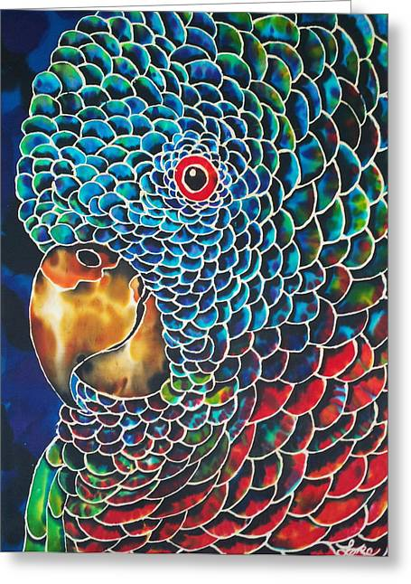 Parrot Of St. Lucia Greeting Card by Debbie Wagner