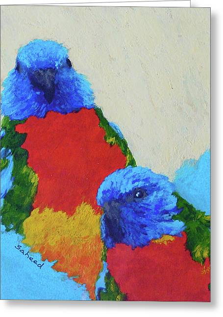 Greeting Card featuring the painting Parrot Pair by Margaret Saheed