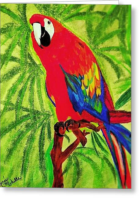 Parrot In Paradise Greeting Card by Renee Michelle Wenker