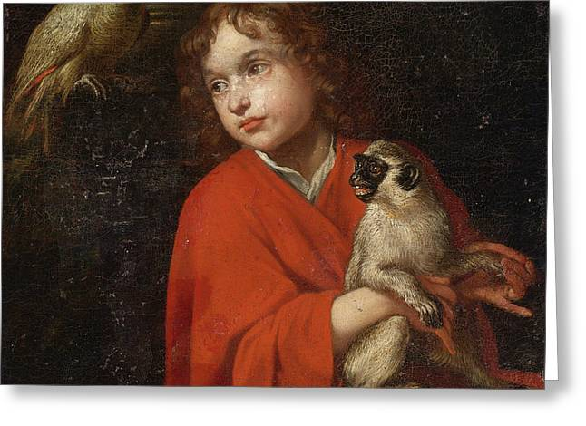 Parrot Watching A Boy Holding A Monkey Greeting Card by Jacob van Oost the Elder