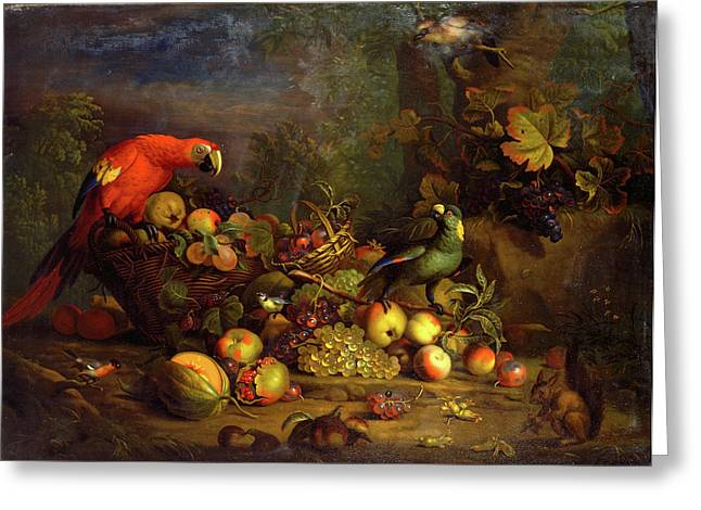 Parrots And Fruit With Other Birds And A Squirrel Signed Greeting Card by Litz Collection
