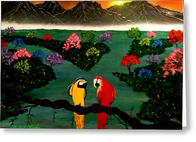 Greeting Card featuring the painting Parrots by Michael Rucker