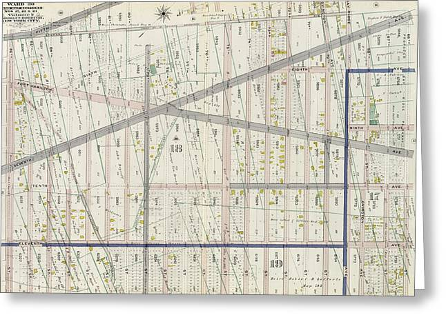 Part Of Ward 30, Land Map Sections, Nos. 17 Greeting Card by Litz Collection