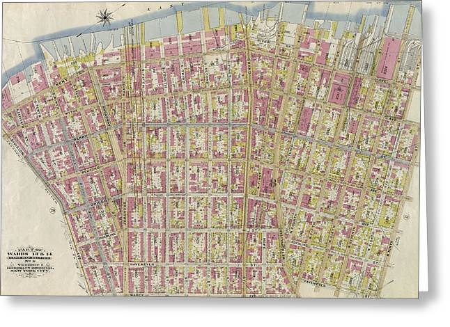 Part Of Wards 13 & 14. Land Map Section Greeting Card by Litz Collection
