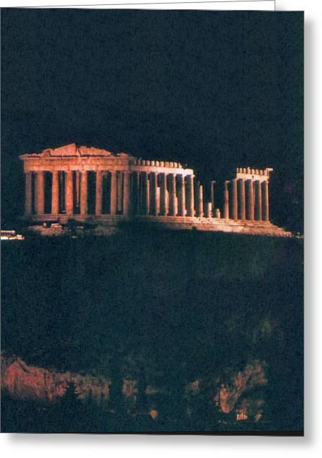 Parthenon At Night Greeting Card