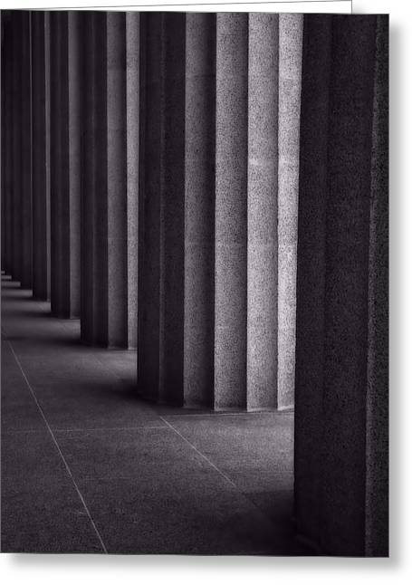 Black And White Columns Greeting Card by Dan Sproul