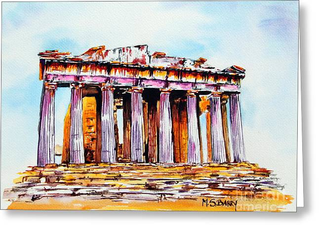 Parthenon Greeting Card by Maria Barry