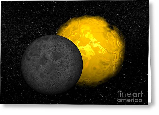 Partial Eclipse Of The Sun Greeting Card by Elena Duvernay