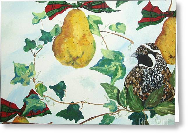 Partridge And  Pears  Greeting Card by Reina Resto