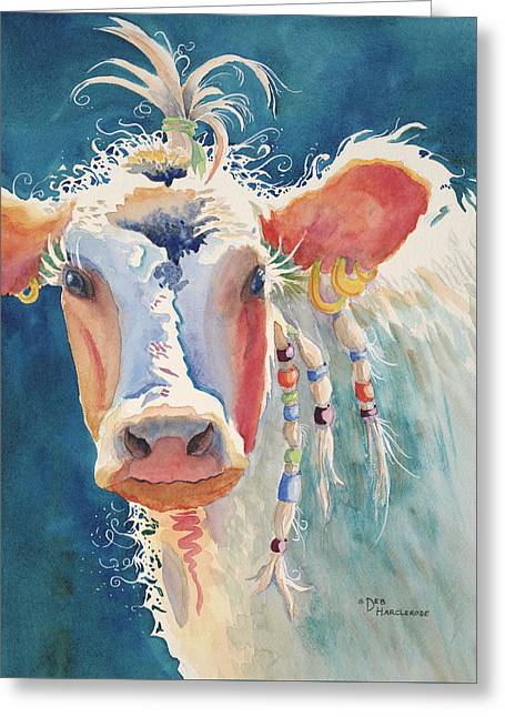 Party Gal - Cow Greeting Card by Deb  Harclerode