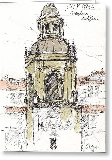 Greeting Card featuring the mixed media Pasadena City Hall by Tim Oliver