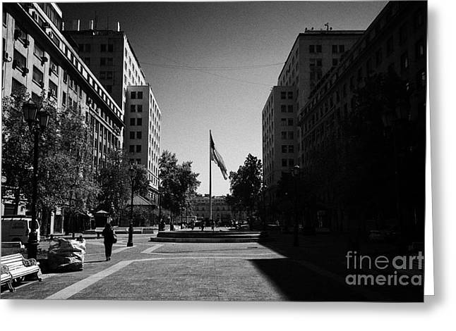 paseo bulnes looking towards bulnes square and la moneda palace Santiago Chile Greeting Card by Joe Fox
