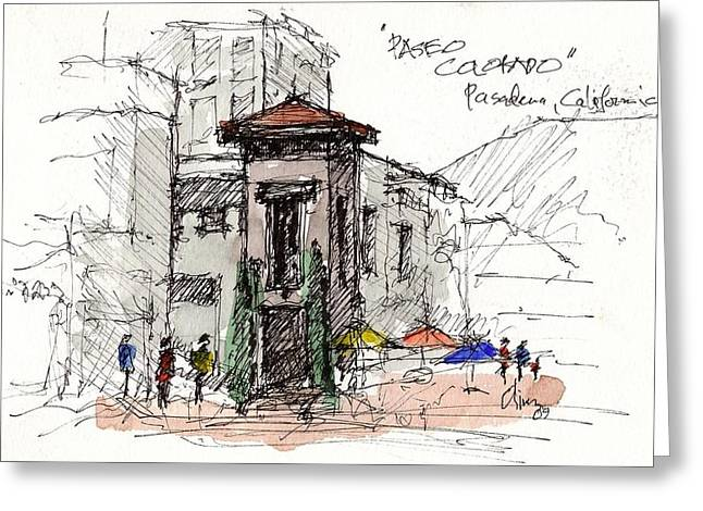 Greeting Card featuring the mixed media Paseo Colorado by Tim Oliver