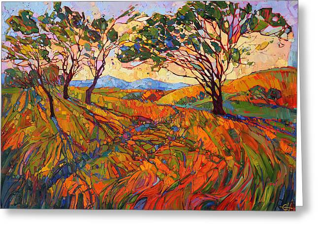Greeting Card featuring the painting Paso Mosaic by Erin Hanson