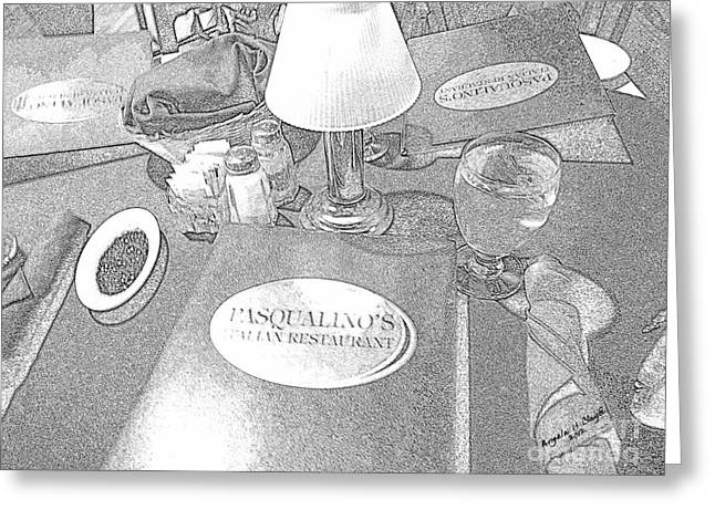 Greeting Card featuring the digital art Pasqualino's Resturant Setup by Angelia Hodges Clay