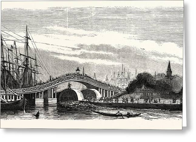 Passage Of The Steamer Le Cygne Under The Galata Bridge Greeting Card by English School