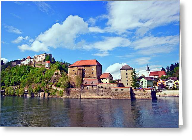 Passau, Germany, The Danube River Flows Greeting Card
