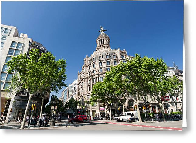 Passeig De Gracia, Barcelona, Spain Greeting Card by Sergio Pitamitz