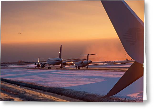 Passenger Airliners Taxiing At Dawn Greeting Card