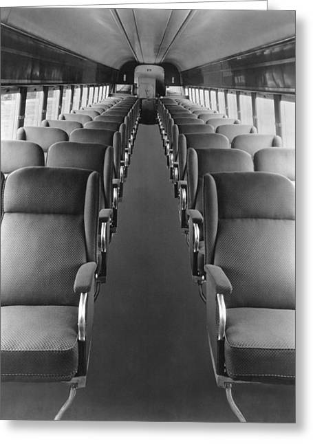 Passenger Train Interior Greeting Card by Underwood Archives