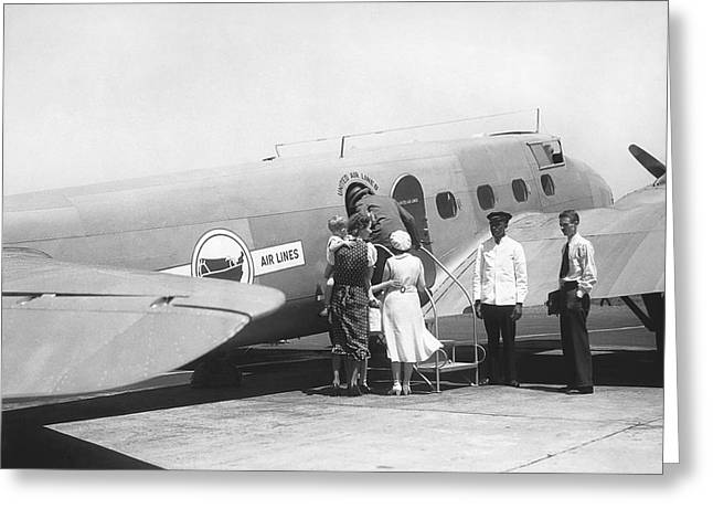 Passengers Boarding Airplane Greeting Card by Underwood Archives