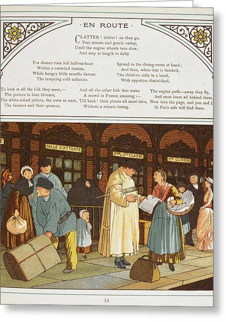 Passengers Outside A Railway Station Greeting Card