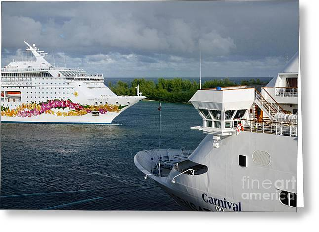 Passing Cruise Ships Greeting Card