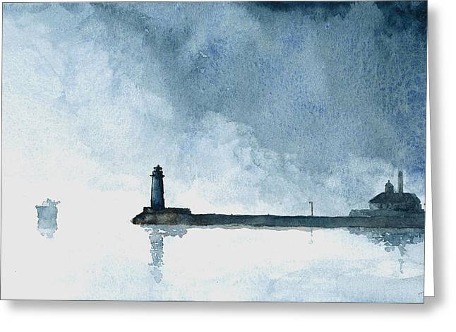 Passing Storm - Duluth Harbor Greeting Card