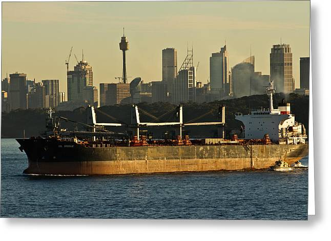 Greeting Card featuring the photograph Passing Sydney In The Sunset by Miroslava Jurcik