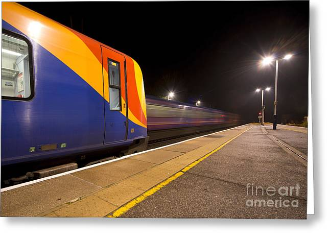 Passing Trains In The Night  Greeting Card