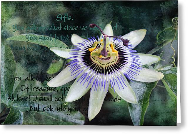 Greeting Card featuring the digital art Passion Flower 2 by Helene U Taylor
