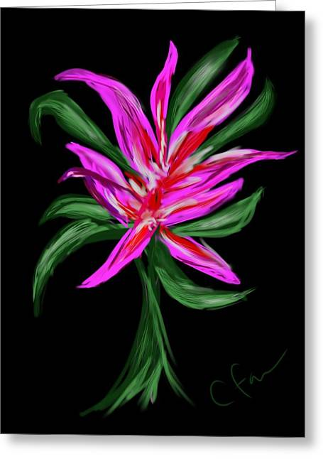 Greeting Card featuring the digital art Passion Flower by Christine Fournier